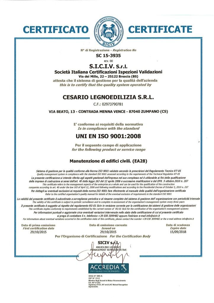 CERTIFICATO ISO - 2015